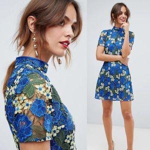 NEW • ASOS • Bright Floral Crochet Lace Mini Dress